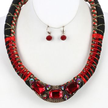 Red Faceted Glass Stone Braided Fabric Cord Bib Necklace And Earring Set
