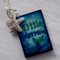 Little Mermaid Charm Necklace. Mini Book With Charm. 16 Inch Chain.