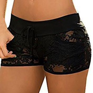 Women's Out Shorts Black Lace Hollow Out Short Shollow Out Short Summer Pants