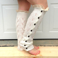 Leg warmers - button down lace legwarmers - women leg warmers - winter fashion - boho - boot accessory