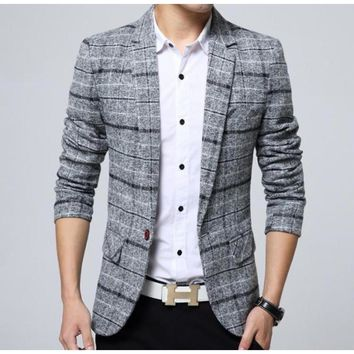 Mens Mix Plaid Blazer in Gray
