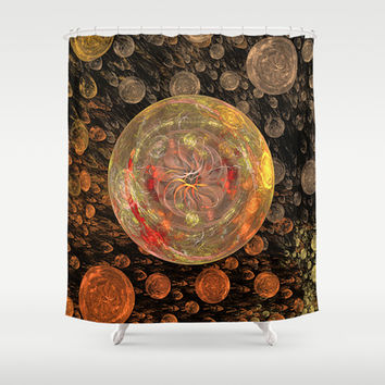 Orange Bubble Shower Curtain by Awesome Palette