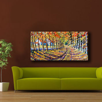 Large Oil Painting 24X48 The Road Home by PrankePaintings on Etsy