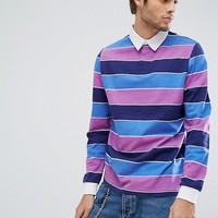 ASOS Long Sleeve Rugby Polo With Block Stripe In Heavyweight Jersey at asos.com