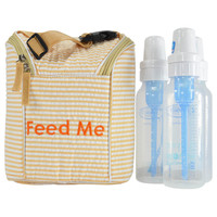 Easy Baby Insulated Feed Me Tote in Seersucker for Bottles and Perishables