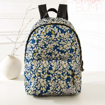 Sweet Floral Printed Canvas Backpack