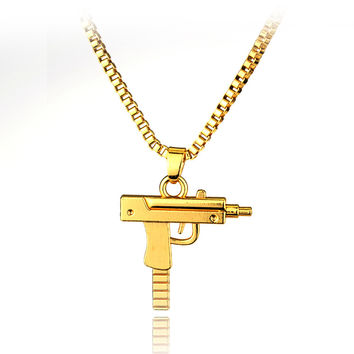 2016 HOT New Engraved Hip Hop For Supreme Gun Shape Uzi Golden Pendant Fine Quality Necklace Gold Chain Popular Fashion Jewelry
