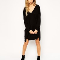 ASOS Jumper Dress With V-Neck in Fine Knit at asos.com