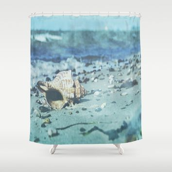 Shell on the beach Shower Curtain by Tanja Riedel