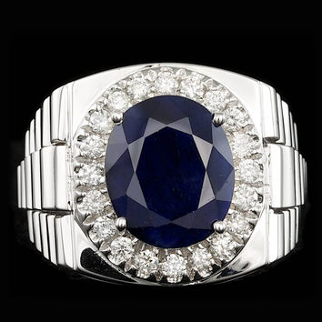14K WHITE GOLD 6.00CT SAPPHIRE 0.70CT DIAMOND MENS RING