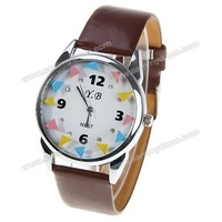 Y.B Quartz Watch with 4 Numbers and Diamonds Dots Round Dial Leather Watchband for Women (Brown)