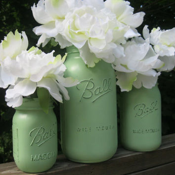 Mint Green Painted Mason Jar -- Set of 3 Shabby Chic Vases in half gallon, quart & pint sizes -- wedding decor