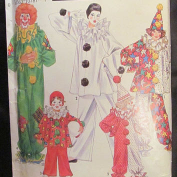 SALE Uncut Vintage Simplicity Sewing Pattern, 0664! Adult Clown Costumes/Halloween Costumes/Theater/Men's/Women's/Clown Hats/Ruffle Collars
