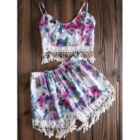 Stylish Spaghetti Strap Floral Print Fringe Design Tank Top + High-Waisted Shorts Women's Twinset