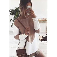 Scoop Patchwork Long Sleeves Irregular Sweater