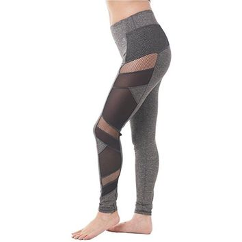 ACTIVEWEAR MESH PANEL LEGGINGS GREY