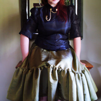 Plus Size Steampunk Skirt Olive Green Asymetrical Hem -Custom to your size 3x-5x