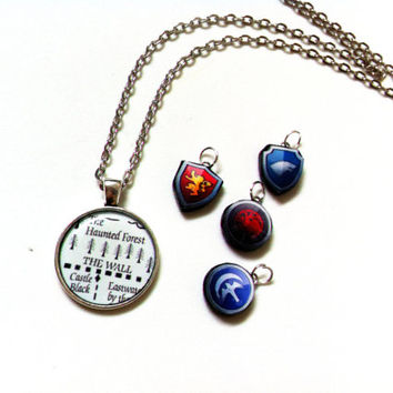 The Wall/Haunted Forest Map - Games Of Thrones - Necklace (With House Sigil Of Your Choice)