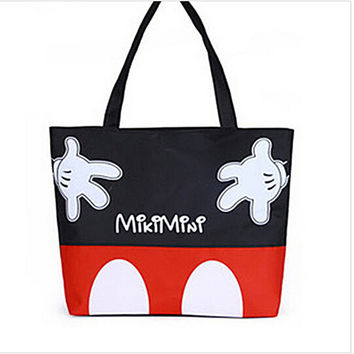 Casual Mickey Mouse Large Canvas Beach Accessories Tote Bag