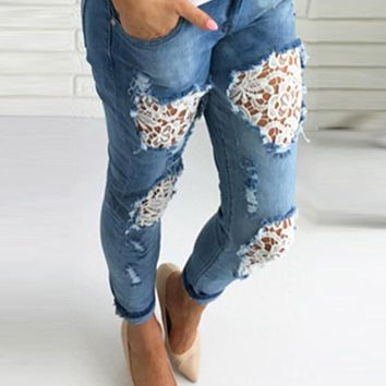New Light Blue Patchwork Lace Pockets Cut Out High Waisted Fashion Long Jeans