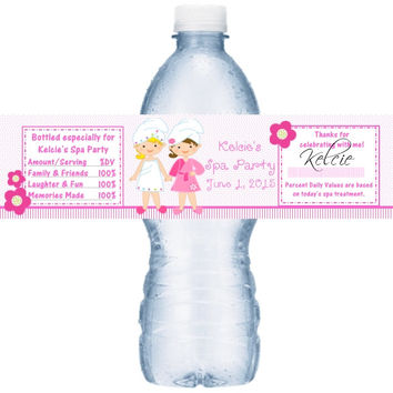 Spa Birthday Party Water Label Favors