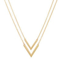 """Polished Gold Tone Necklace Featuring 1"""" Double Arrows"""