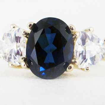 Blue Sapphire Oval and Trillion 14k Yellow Gold Ring, September Birthstone Ring, Blue Sapphire Oval Ring, Solid 14 Karat Gold Ring
