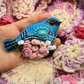 Blue bird with roses -  Embroidered beaded brooch