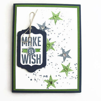 Make a Wish Birthday Card, Blue and Green, Birthday Cards, Stars