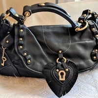 Authentic Juicy Couture Black Supple Leather Handbag Hobo Shoulder Bag