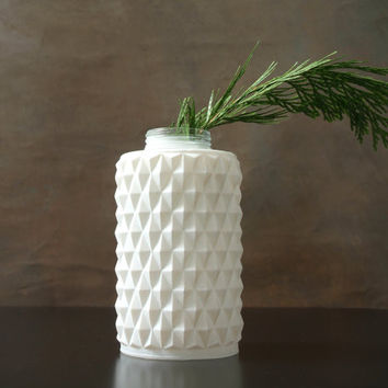Frosted White Glass Light Fixture Mid Modern with Geometric Pattern