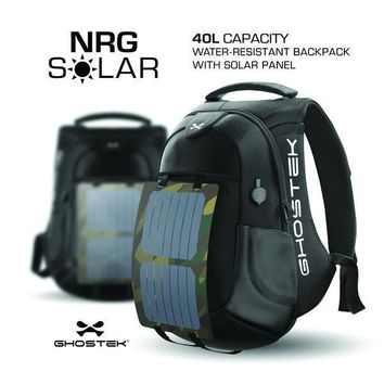 Ghostek NRG Water-Resistant Solar Series Eco Backpack, 16,000mAh Power Bank with 5 USB Ports (Black)