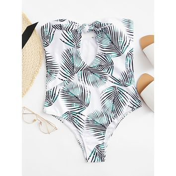 Strapless Knotted Swimsuit