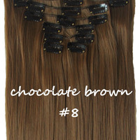 "22"" Full Head Clip In Hair Extensions Straight (8 Wefts / 8 Chocolate Brown)"