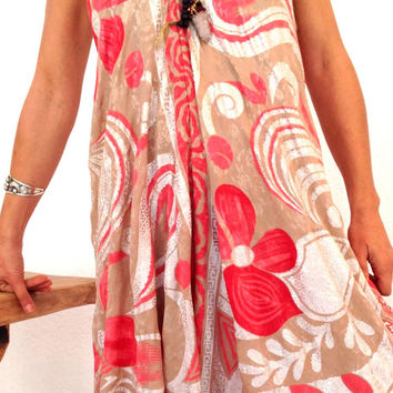 coverall by pure india silk,  coral color coverall, one of the kind orange and white