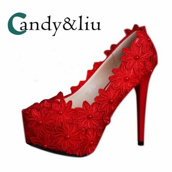 Women Lace Wedding Shoes Red Flower Bride Pumps with Platform Pointed Toe Super High (8cm-up) for Party Bridesmaids Banquet