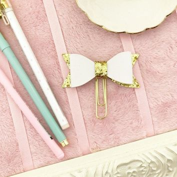 Bow Planner Clip White with Gold Glitter Faux Leather