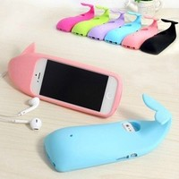 MagicPieces 3D Cute Sea Whale Soft Silicone Case Cover For iPhone 5 Pink