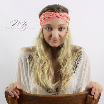 Bohemian Beaded Turban Coral Jewel beaded headband Boho headbands in Coral with Leaf design Chiffon head wrap with elastic back