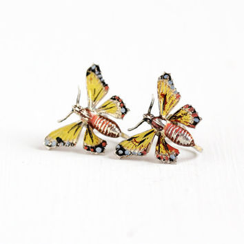 Vintage Sterling Silver Butterfly Screw Back Earrings - 1940s 1950s Clip On Colorful Enamel Spring Insect Motif Jewelry