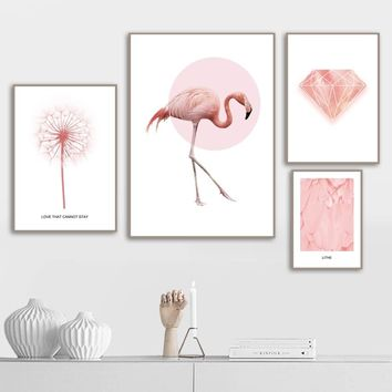Pink Flamingo Feather Diamond Dandelion Wall Art Canvas Painting Nordic Posters And Prints Wall Pictures For Living Room Decor
