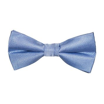 Solid Color Bow Tie - Light Blue, Woven Silk, Kids Pre-Tied
