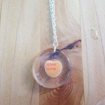 DCCKHD9 Necklace Conversation Heart Pendant Casted Candy in Resin Valentine's Day Wink Wink Or