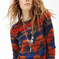 FOREVER 21 Tribal Print Boxy Top Rust/Navy