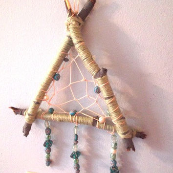 Dream Catcher, Green Dream catcher, Triangle Cream Catcher, Small Dream Catcher, Boho Dream Catcher, Bohemian Dream Catcher, Tribal Dream