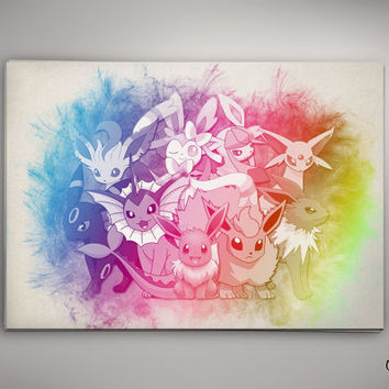 Eevee Evolution Pokemon Watercolor Print  Archival Print  Art Print  Wall Decor Art Poster Anime Print  Manga  Cartoon Multi Size n628