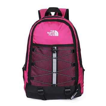 The North Face Fashion New Embroidery Letter Women Men Backpack Bag Rose Red