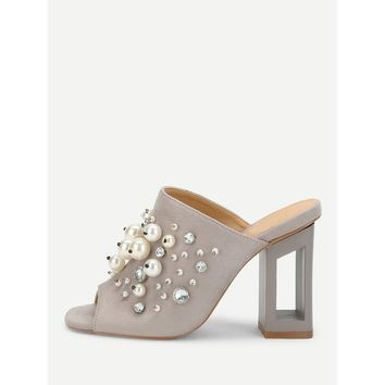 Faux Pearl Decorated Chunky Heeled Mules Grey