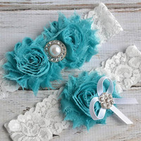 TURQUOISE 29 Different Colors Wedding Bridal Garter Set Keepsake Toss Garder