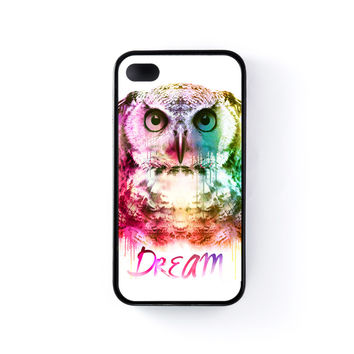 Watercolor Owl Black Silicon Case Rubber Case for Apple iPhone 4 / 4s by Gangtoyz